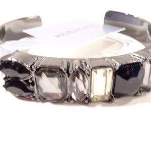 Nordstrom Gunmetal Cystal Cuff Bracelet NWT 45